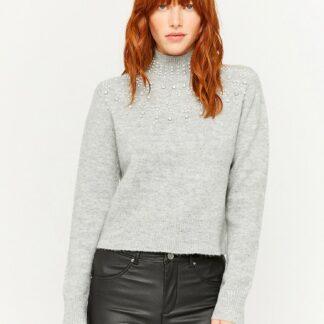 Tally Weijl šedý dámský svetr s ozdobnými detaily