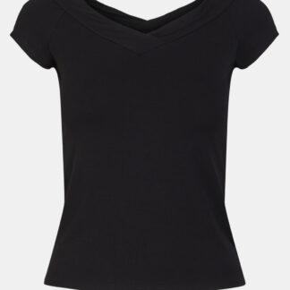 Pieces černé dámské tričko Maliva