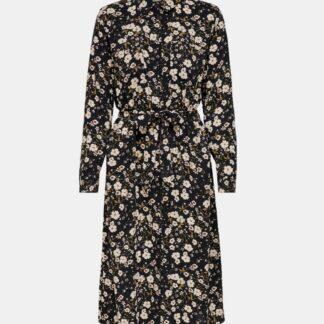 Jacqueline de Yong černé květované košilové midi šaty