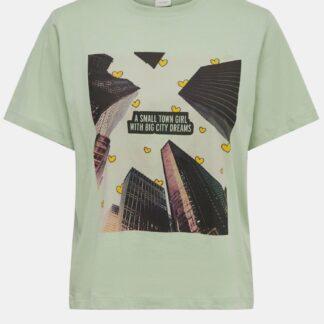 Jacqueline de Yong světle zelené dámské tričko s potiskem