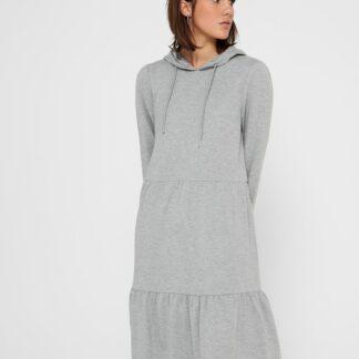 Jacqueline de Yong světle šedé mikinové šaty s kapucí