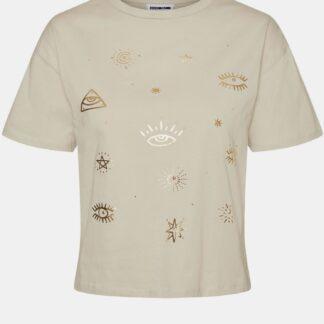Noisy May béžové dámské tričko Brandy s potiskem