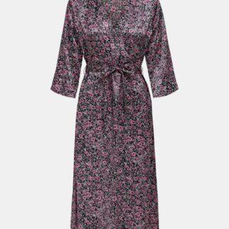 Jacqueline de Yong černé květované zavinovací šaty Juliette