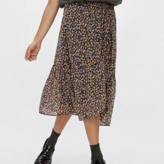 Pieces černá květovaná midi sukně