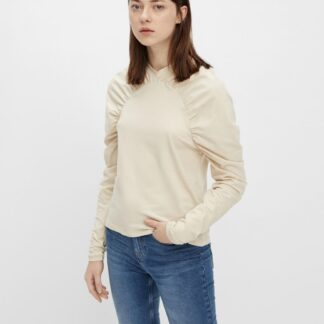 Pieces krémové dámské tričko s nařasenými rukávy
