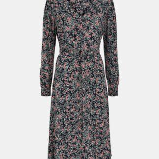 Pieces černé květované midi šaty