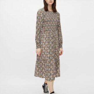 Pieces béžovo-šedé květované midi šaty