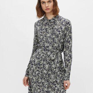 Pieces šedé květované košilové šaty