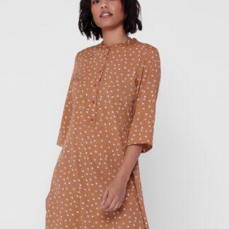 Jacqueline de Yong hnědé šaty Ora se vzory