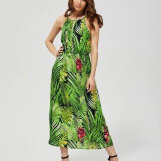 Moodo zelené šaty s tropickými motivy