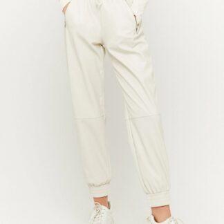 Tally Weijl krémové koženkové kalhoty