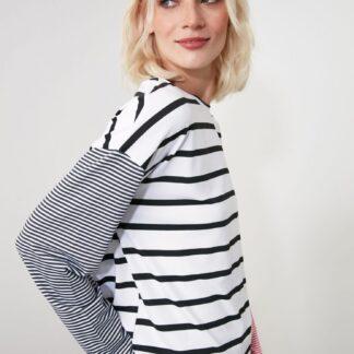 Trendyol bílé pruhované dámské tričko