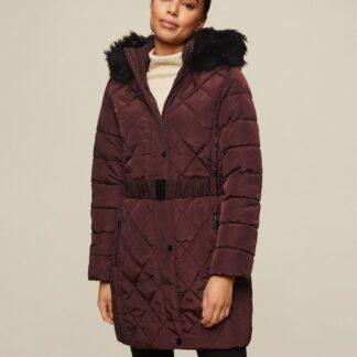 Dorothy Perkins vínový zimní kabát