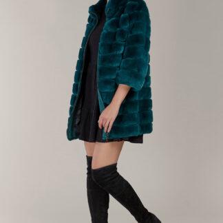 Kara petrolejový kožešinový zimní kabátek