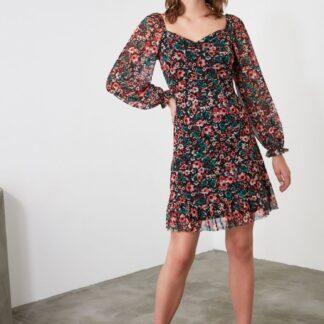 Trendyol černé květované šaty