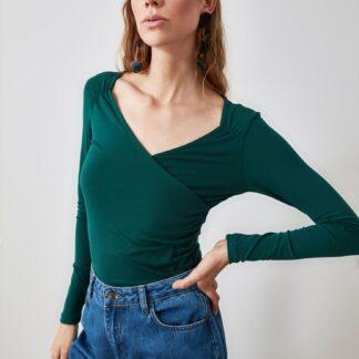 Trendyol tmavě zelené dámské tričko