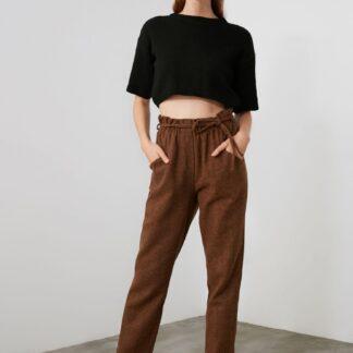 Trendyol hnědé zkrácené kalhoty