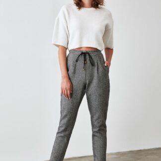 Trendyol šedé zkrácené kalhoty