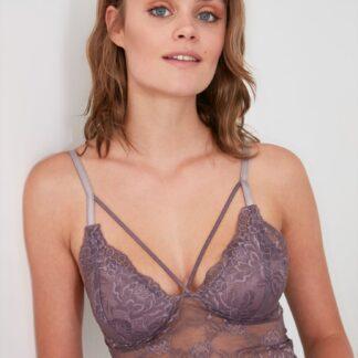 Trendyol fialová podprsenka s krajkou