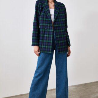 Trendyol tmavě modrý kabát s kostkovaným vzorem
