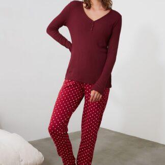 Trendyol vínové dámské pyžamo