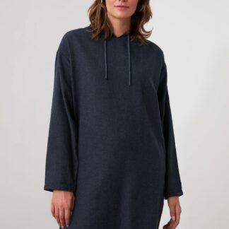 Trendyol tmavě modré mikinové šaty