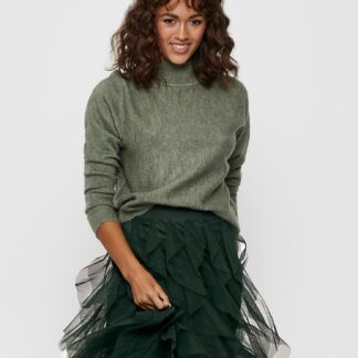Jacqueline de Yong zelený dámský svetr se stojáčkem
