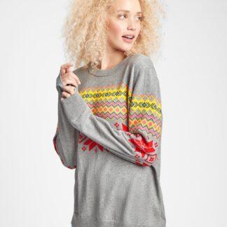 GAP šedý dámský svetr s barevnými motivy