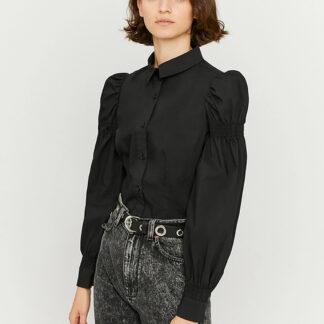 Černá košile s nařasenými rukávy TALLY WEiJL