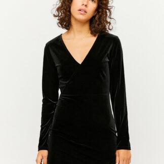 Černé sametové pouzdrové šaty TALLY WEiJL