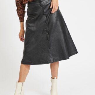 Černá koženková midi sukně VILA
