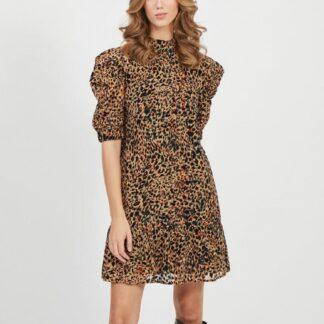 Hnědé šaty s leopardím vzorem .OBJECT