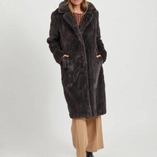 Tmavě šedý kabát z umělého kožíšku VILA