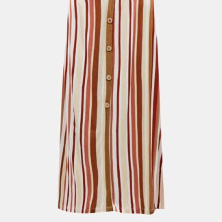 Hnědo-krémová pruhovaná midi sukně ONLY Louisa