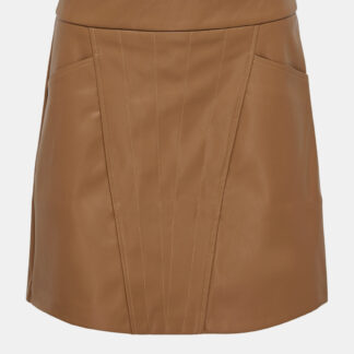 Hnědá koženková sukně ONLY Naya