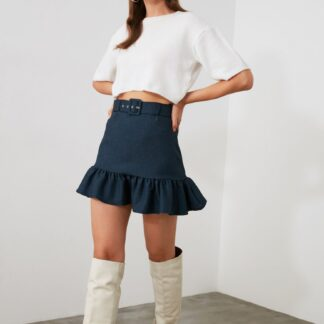 Modrá sukně s páskem Trendyol