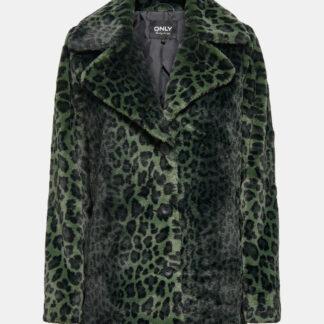 Zelený kabát s leopardím vzorem ONLY Nanna