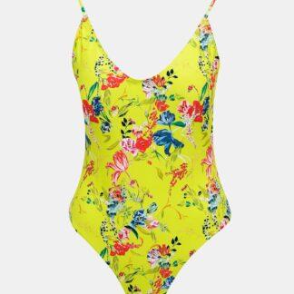 Žluté květované jednodílné plavky Pieces Naomi