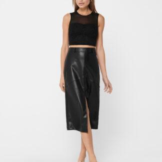 Černá koženková sukně ONLY Ruma