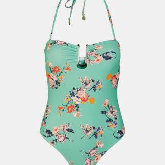 Tyrkysové květované jednodílné plavky Pieces Nynne