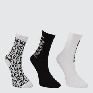 Sada tří párů dámských vzorovaných ponožek v černé a bílé barvě Trendyol