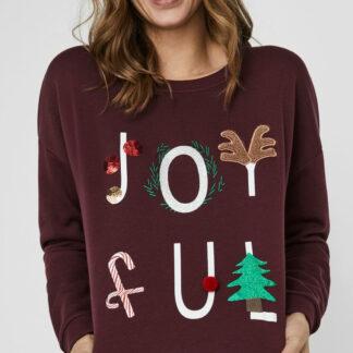 Hnědá mikina s vánočním motivem VERO MODA