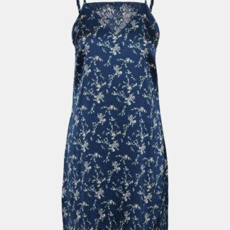 Modrá květovaná saténová noční košilka VERO MODA