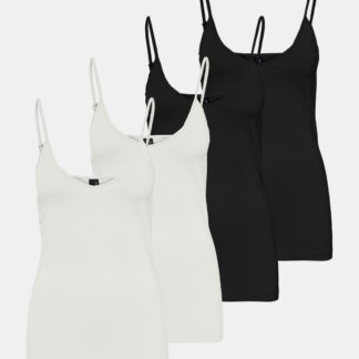 Sada čtyř basic tílek v černé a bílé barvě VERO MODA