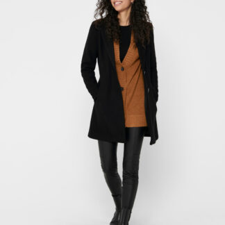 Černý vlněný kabát ONLY Carmen