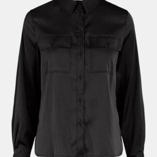 Černá saténová košile Pieces