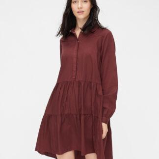 Hnědé košilové šaty Pieces