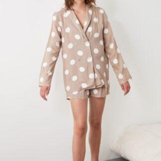 Béžové dámské puntíkované pyžamo Trendyol