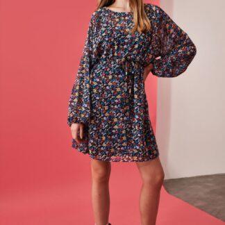 Modré květované šaty Trendyol
