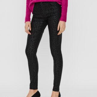 Černé vzorované skinny fit kalhoty s povrchovou úpravou VERO MODA